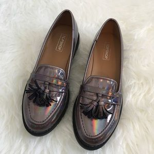 TOPSHOP METALLIC RAINBOW LOAFERS FLATS SHOES